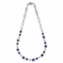 14KT White Gold 5.14ctw Blue Sapphire and Diamond Necklace