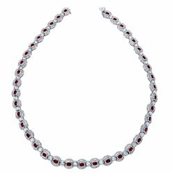14KT White Gold 10.19ctw Ruby and Diamond Necklace