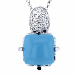 14KT White Gold 7.02ct Turquoise and Diamond Pendant with Chain