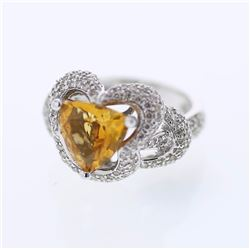 14KT White Gold 2.66ct Citrine and Diamond Ring