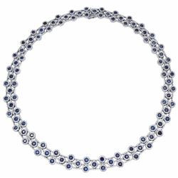 14KT White Gold 16.12ctw Blue Sapphire and Diamond Necklace