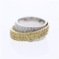14KT Two Tone Gold 1.35ctw Yellow Sapphire and Diamond Ring
