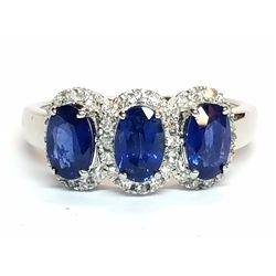 10KT White Gold 1.20ctw Blue Sapphire and Diamond Ring