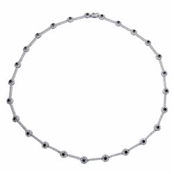14KT White Gold 3.16ctw Blue Sapphire and Diamond Necklace