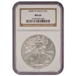 2008-W $1 American Silver Eagle Coin NGC MS69