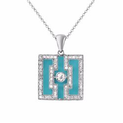 18KT White Gold 6.57ct Turquoise and Diamond Pendant with Chain