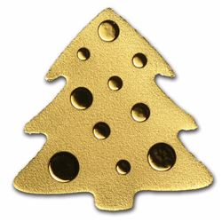 $1 Palau 1/2 Gram Golden Christmas Tree Coin