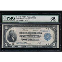 1918 $2 Philadelphia Federal Reserve Note PMG 35