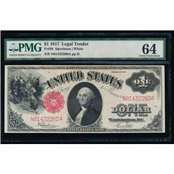1917 $1 Legal Tender Note PMG 64