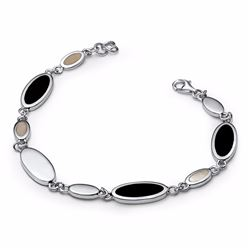 Sterling Silver Mother of Pearl and Onyx Bracelet