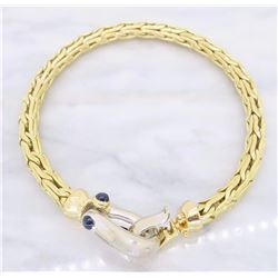 18KT Two Tone Gold Blue Sapphire Roberto Coin Bracelet