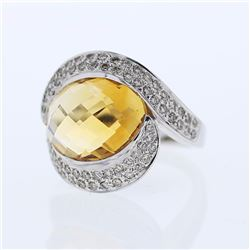 14KT White Gold 9.00ct Citrine and Diamond Ring