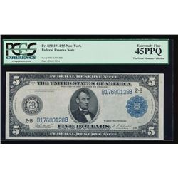 1914 $5 New York Federal Reserve Note PCGS 45PPQ