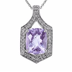 14KT White Gold 4.24ct Amethyst and Diamond Pendant with Chain