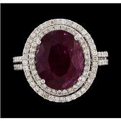 14KT White Gold 6.60ct Ruby and Diamond Ring
