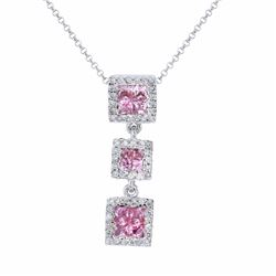 14KT White Gold 0.93ctw Pink Sapphire and Diamond Pendant with Chain
