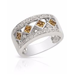 14KT White Gold 0.40ctw Yellow Sapphire and Diamond Ring