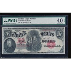 1907 $5 Legal Tender Note PMG 40EPQ