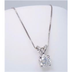 14KT White Gold 0.62ct Diamond Pendant with Chain
