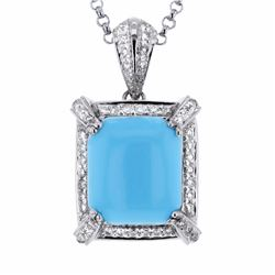 14KT White Gold 6.35ct Turquoise and Diamond Pendant with Chain