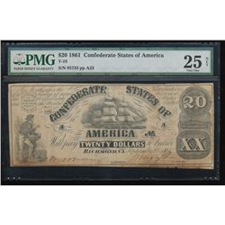 1861 $20 Confederate States of America Note PMG 25