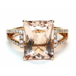 14KT Rose Gold 5.37ct Morganite and Diamond Ring
