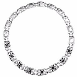 14KT White Gold Onyx and Diamond Necklace