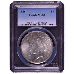 1926 $1 Peace Silver Dollar Coin PCGS MS63