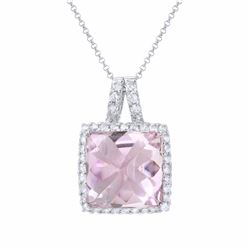 14KT White Gold 13.28ct Amethyst and Diamond Pendant with Chain