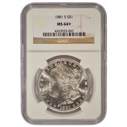 1881-S $1 Morgan Silver Dollar Coin NGC MS64+