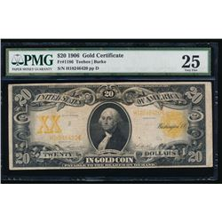 1906 $20 Large Gold Certificate PMG 25