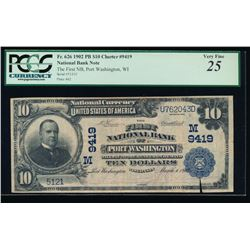 1902 $10 Port Washington National Bank Note PCGS 25