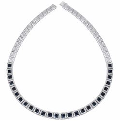14KT White Gold 9.64ctw Blue Sapphire and Diamond Necklace