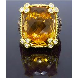 18KT Yellow Gold Champagne Quartz and Diamond Ring