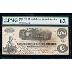 1861 $100 Confederate States of America Note PMG 63