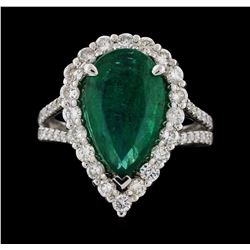 14KT White Gold 4.05ct Emerald and Diamond Ring