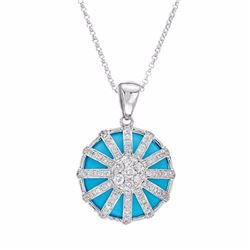 14KT White Gold 9.10ct Turquoise and Diamond Pendant with Chain