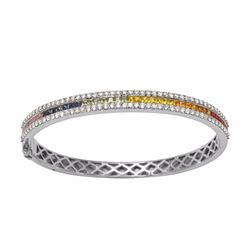 14KT White Gold 2.32ctw Multi Color Sapphire and Diamond Bracelet