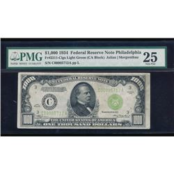 1934 $1000 Philadelphia Federal Reserve Bank Note PMG 25