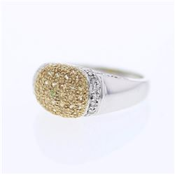 14KT Two Tone Gold 0.45ctw Yellow Sapphire and Diamond Ring