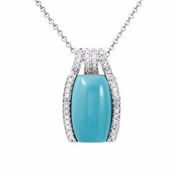 14KT White Gold 12.15ct Turquoise and Diamond Pendant with Chain