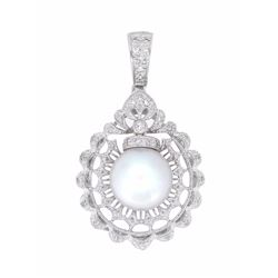 18KT White Gold 11mm Pearl and Diamond Pendant