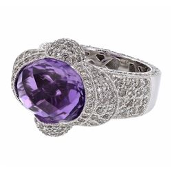 14KT White Gold 7.75ct Amethyst and Diamond Ring