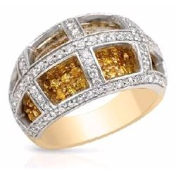 14KT Two Tone Gold 1.31ctw Yellow Sapphire and Diamond Ring