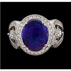 14KT White Gold 3.85ct Opal and Diamond Ring