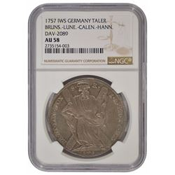 1757 Germany Brunswick Thaler Coin NGC AU58