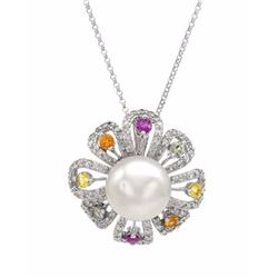 14KT White Gold Pearl Sapphire and Diamond Pendant with Chain