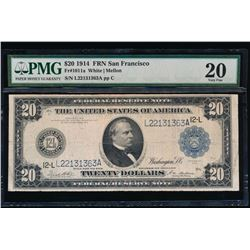 1914 $20 San Francisco Federal Reserve Note PMG 20