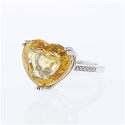 14KT White Gold 11.55ct Citrine and Diamond Ring
