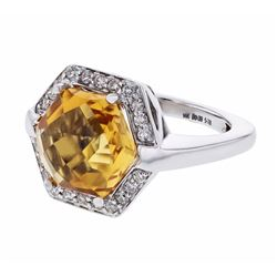 14KT White Gold 5.78ct Citrine and Diamond Ring